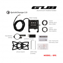 GUB PRO2 Aluminum With Charger phone holder