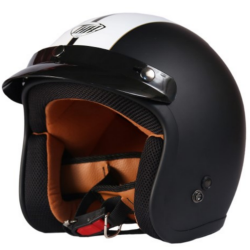 THH TS-356 Black White Belt-Matt Half Face Helmet