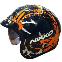 Nikko N-500 Urban Destiney Black Gloss Orange Helmet